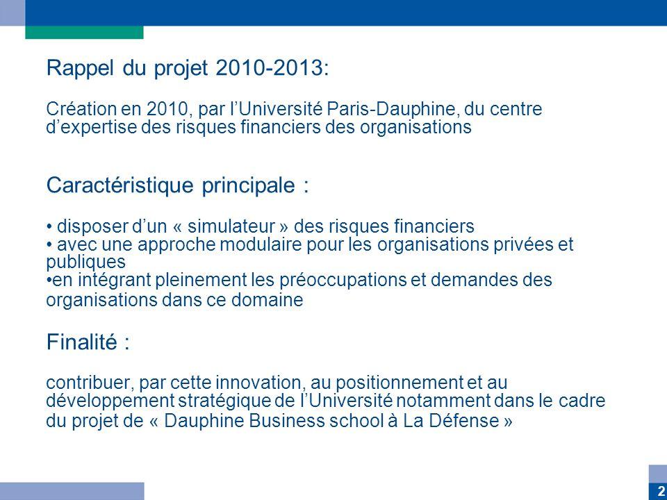 2 Rappel du projet 2010-2013: Création en 2010, par lUniversité Paris-Dauphine, du centre dexpertise des risques financiers des organisations Caractér