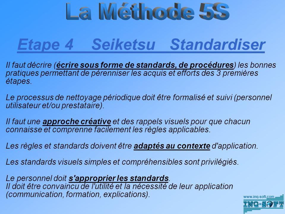 Etape 4 Seiketsu Standardiser Il faut décrire (écrire sous forme de standards, de procédures) les bonnes pratiques permettant de pérenniser les acquis