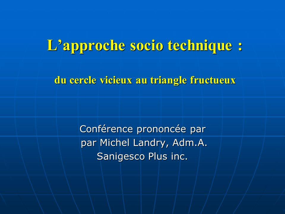 Lapproche socio technique : du cercle vicieux au triangle fructueux Conférence prononcée par par Michel Landry, Adm.A. par Michel Landry, Adm.A. Sanig