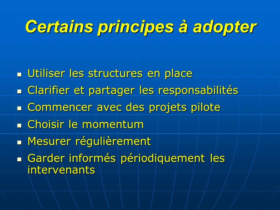 Certains principes à adopter Utiliser les structures en place Utiliser les structures en place Clarifier et partager les responsabilités Clarifier et