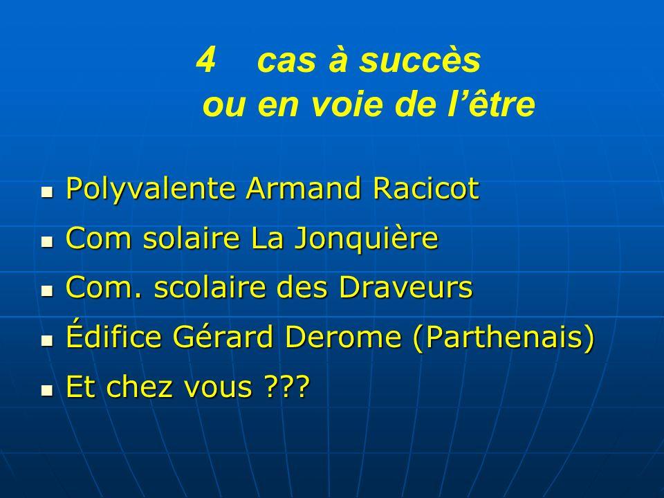 4 4cas à succès ou en voie de lêtre Polyvalente Armand Racicot Polyvalente Armand Racicot Com solaire La Jonquière Com solaire La Jonquière Com. scola