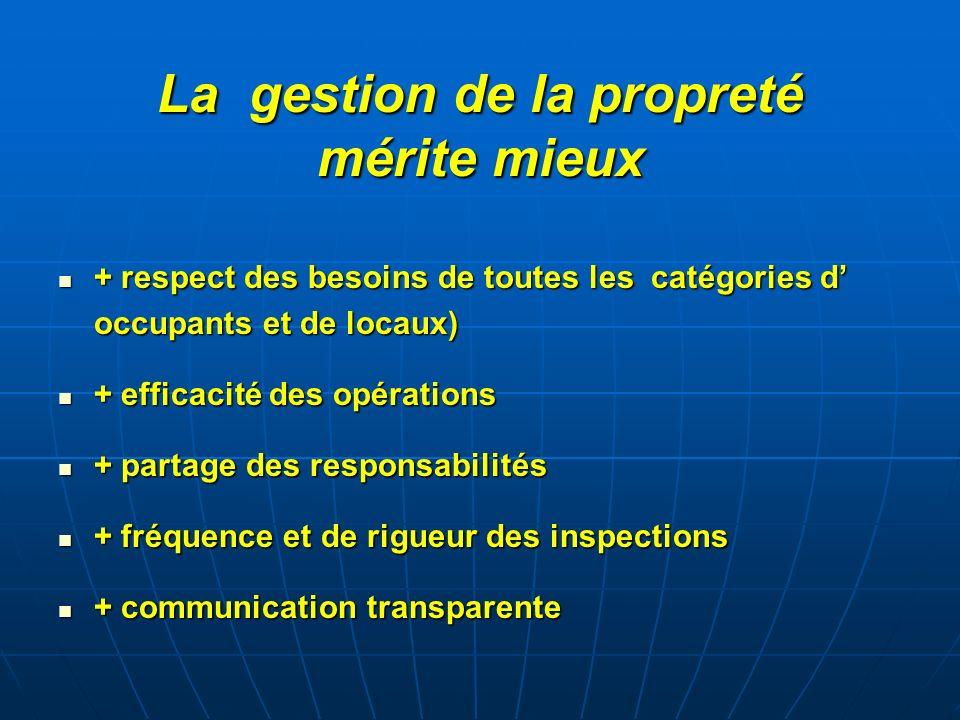 La gestion de la propreté mérite mieux + respect des besoins de toutes les catégories d occupants et de locaux) + respect des besoins de toutes les ca