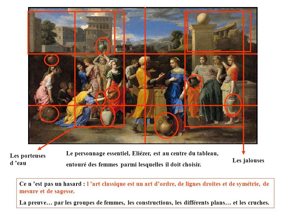 Le tableau illustre un épisode de la Bible, extrait de la genèse. Parmi les femmes à la fontaine, Eliézer doit reconnaître en celle qui lui donnera à
