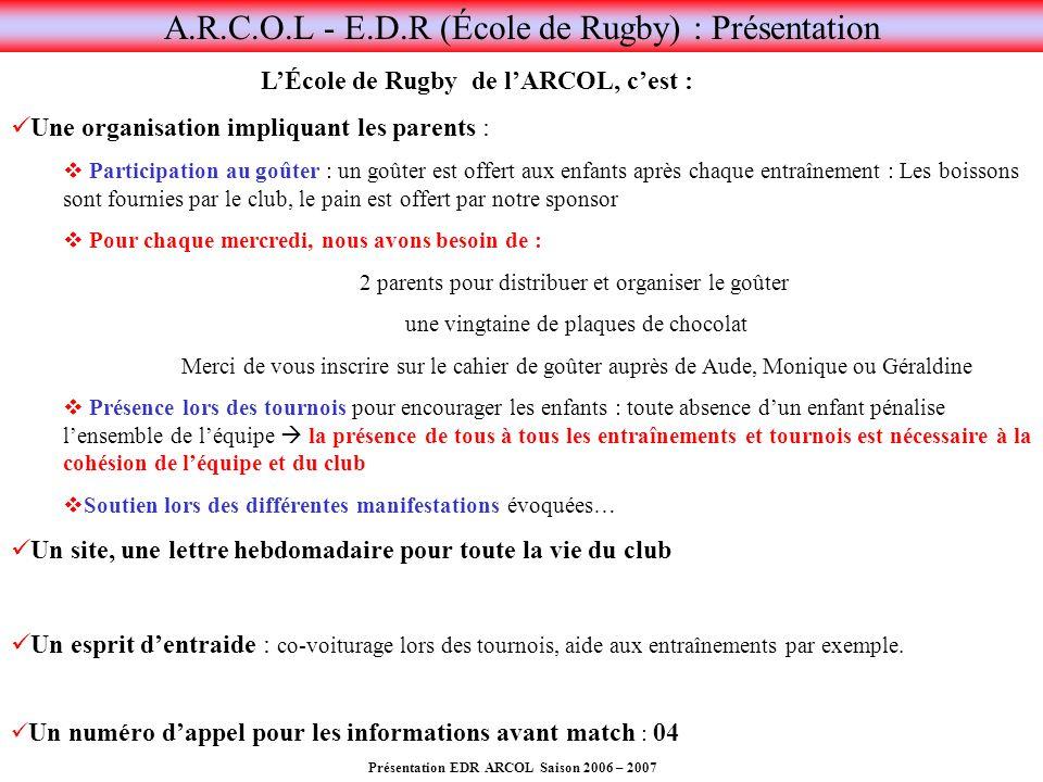 Présentation EDR ARCOL Saison 2006 – 2007 A.R.C.O.L - E.D.R (École de Rugby) : Présentation LÉcole de Rugby de lARCOL, cest : Une organisation impliqu