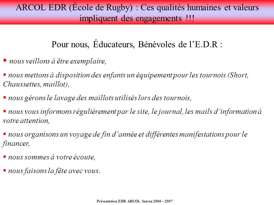Présentation EDR ARCOL Saison 2006 – 2007 Pour nous, Éducateurs, Bénévoles de lE.D.R : nous veillons à être exemplaire, nous mettons à disposition des