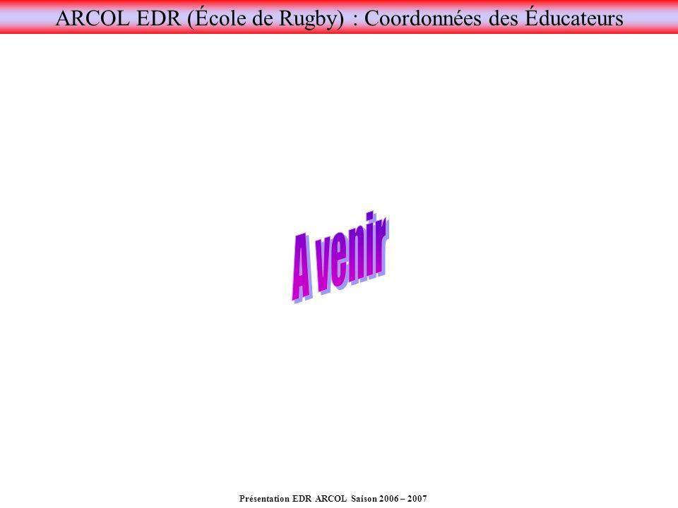 Présentation EDR ARCOL Saison 2006 – 2007 ARCOL EDR (École de Rugby) : Coordonnées des Éducateurs