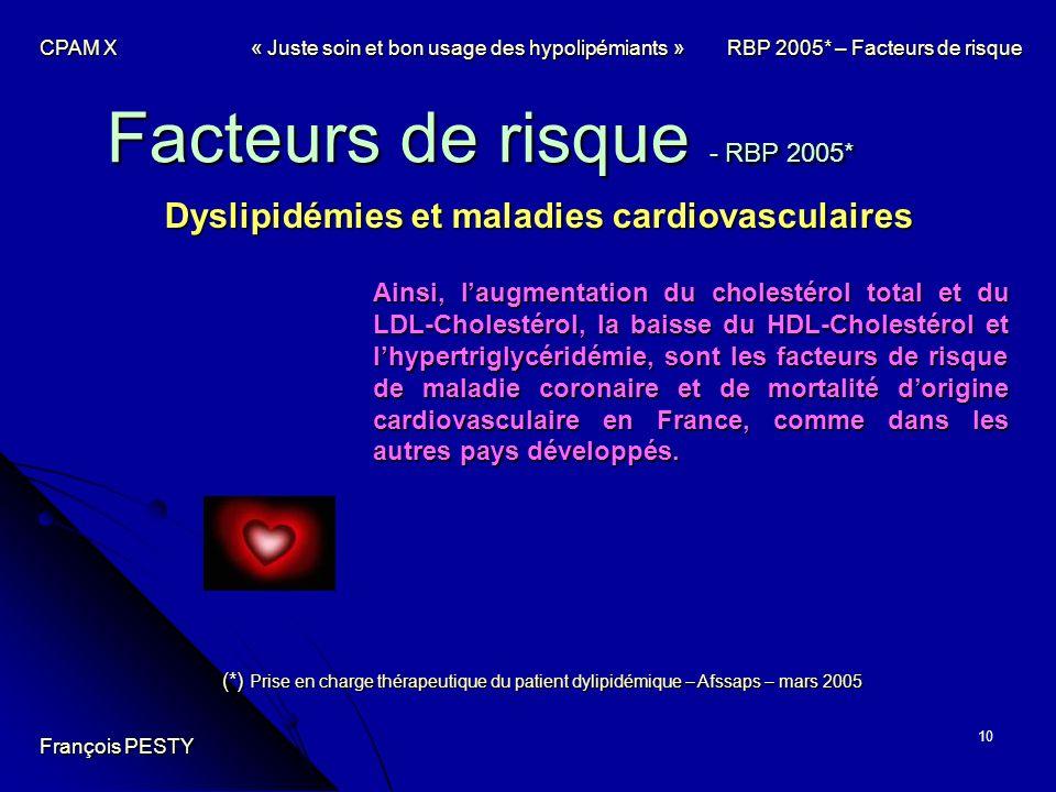 10 Facteurs de risque - RBP 2005* Dyslipidémies et maladies cardiovasculaires Ainsi, laugmentation du cholestérol total et du LDL-Cholestérol, la bais