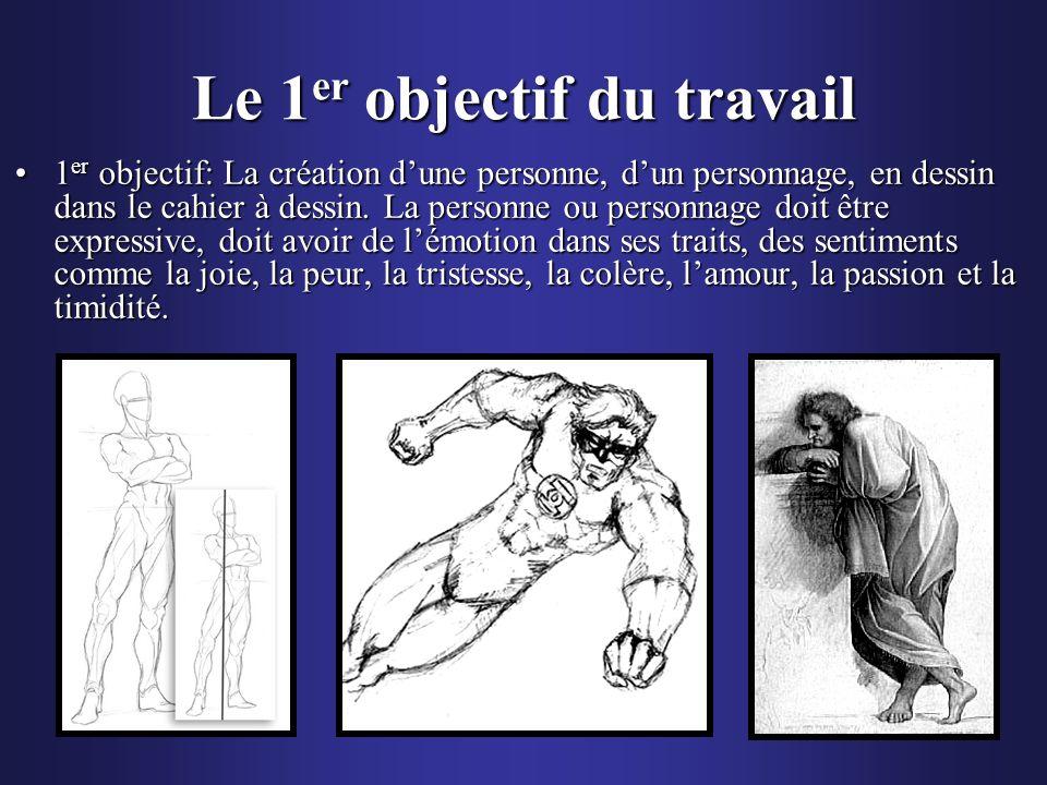 Le 1 er objectif du travail 1 er objectif: La création dune personne, dun personnage, en dessin dans le cahier à dessin. La personne ou personnage doi