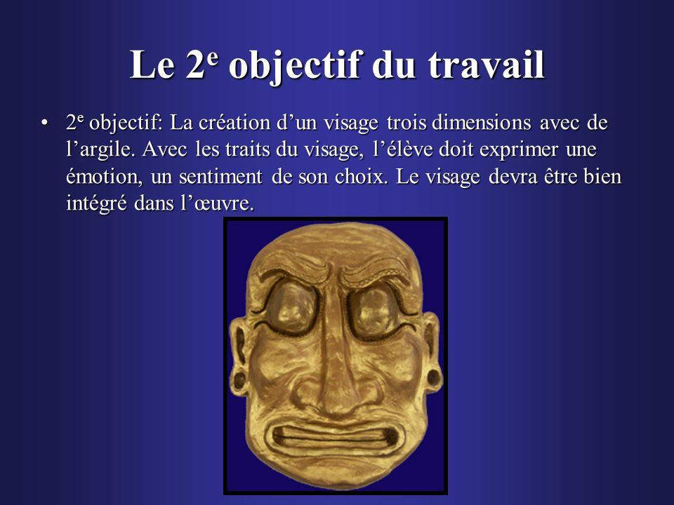Le 2 e objectif du travail 2 e objectif: La création dun visage trois dimensions avec de largile. Avec les traits du visage, lélève doit exprimer une