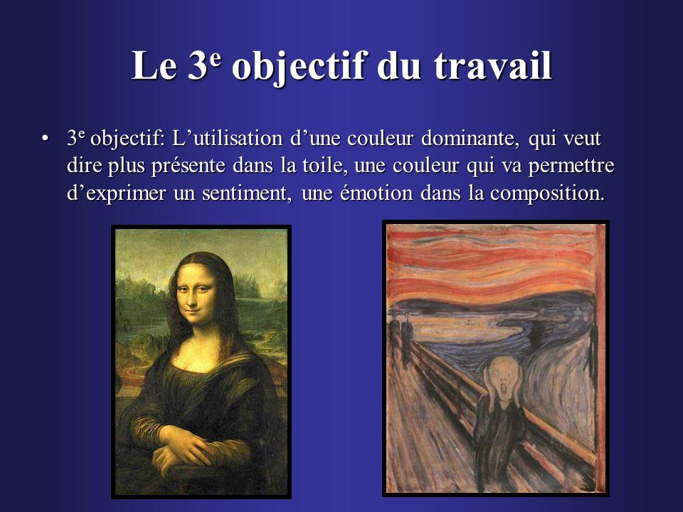 Le 3 e objectif du travail 3 e objectif: Lutilisation dune couleur dominante, qui veut dire plus présente dans la toile, une couleur qui va permettre