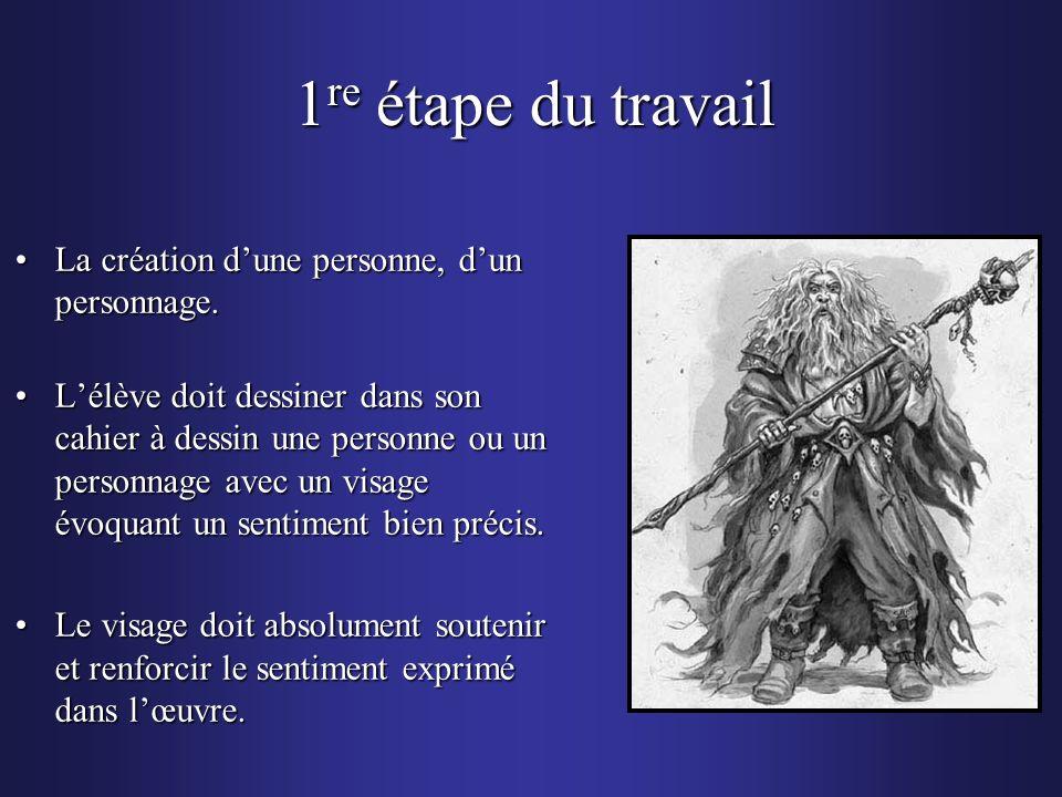 1 re étape du travail La création dune personne, dun personnage.La création dune personne, dun personnage. Lélève doit dessiner dans son cahier à dess