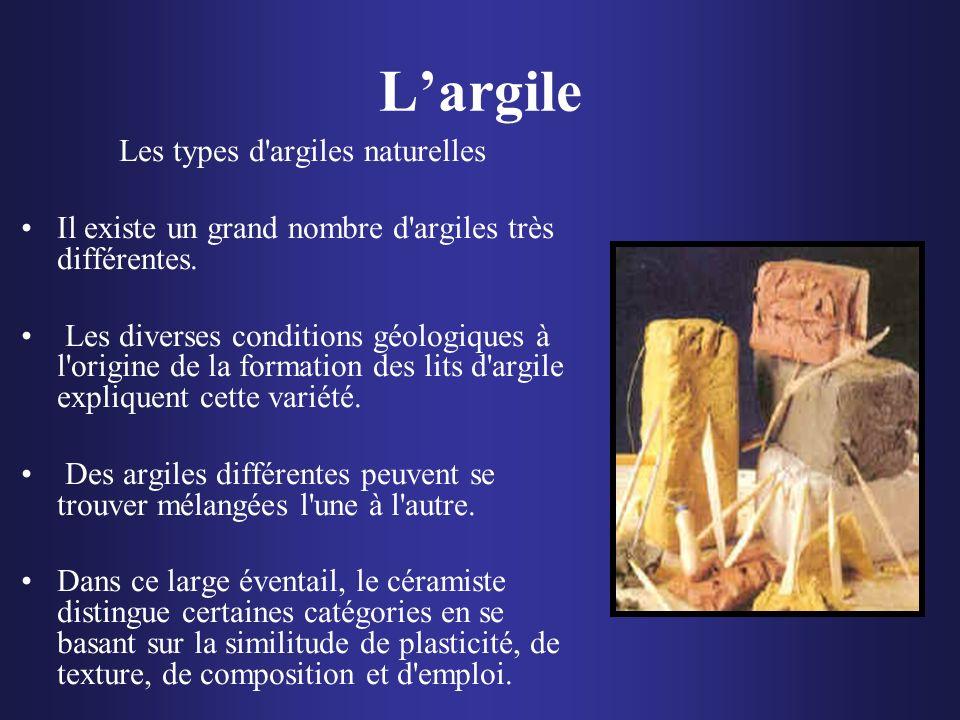 Largile Les types d'argiles naturelles Il existe un grand nombre d'argiles très différentes. Les diverses conditions géologiques à l'origine de la for