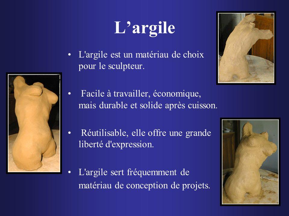 Largile L'argile est un matériau de choix pour le sculpteur. Facile à travailler, économique, mais durable et solide après cuisson. Réutilisable, elle