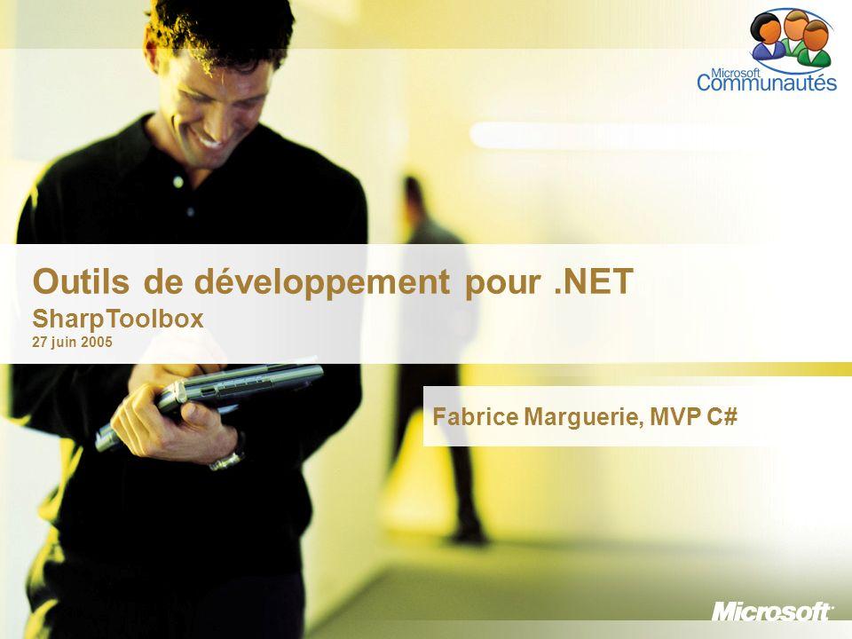 2 MVP depuis avril 2004 Architecte logiciel sur.NET chez Alti Weblog : http://weblogs.asp.net/fmargueriehttp://weblogs.asp.net/fmarguerie Articles sur DotNetGuru Présentations sur.NET Logiciels : PageMethods (metaSapiens) Sites non techniques : ClairDeBulle, OlympicBoard et SharpToolbox bien-sûr .