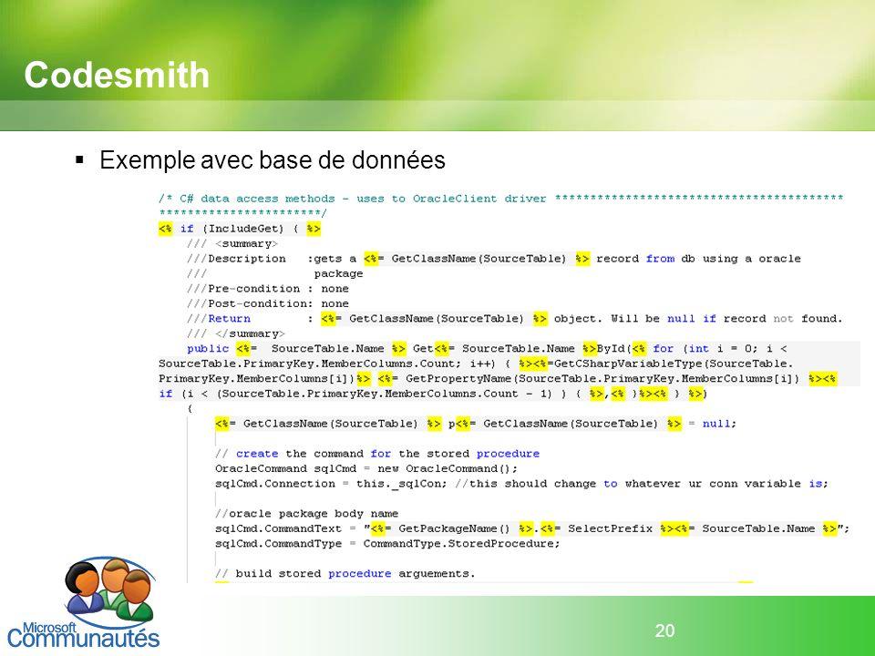 20 Codesmith Exemple avec base de données
