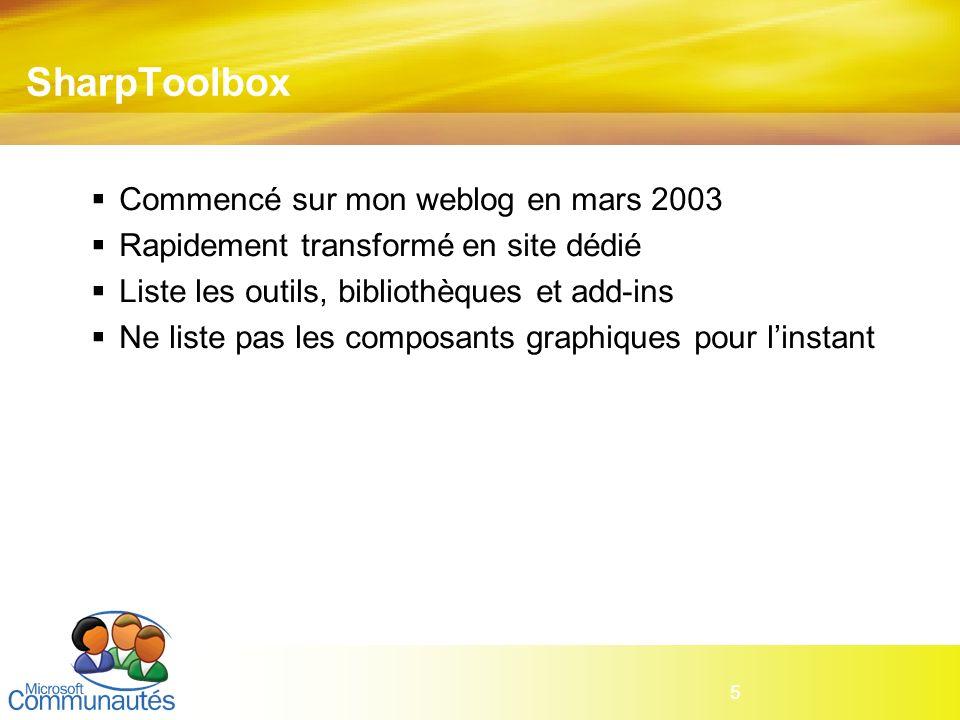 5 SharpToolbox Commencé sur mon weblog en mars 2003 Rapidement transformé en site dédié Liste les outils, bibliothèques et add-ins Ne liste pas les co
