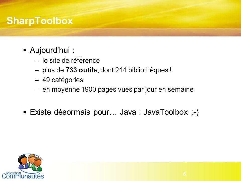 6 SharpToolbox Aujourdhui : –le site de référence –plus de 733 outils, dont 214 bibliothèques ! –49 catégories –en moyenne 1900 pages vues par jour en