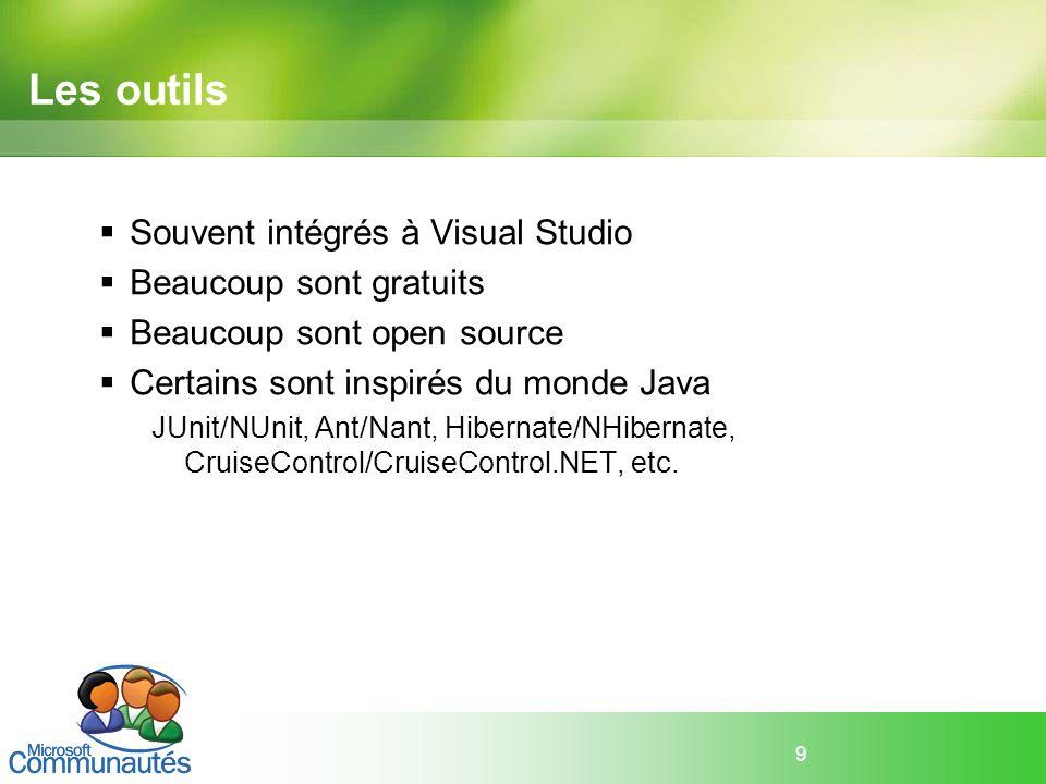 9 Les outils Souvent intégrés à Visual Studio Beaucoup sont gratuits Beaucoup sont open source Certains sont inspirés du monde Java JUnit/NUnit, Ant/N
