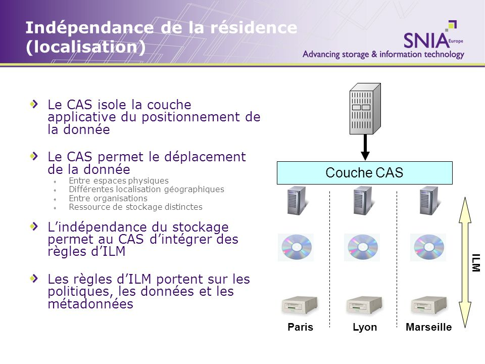 Indépendance de la résidence (localisation) Le CAS isole la couche applicative du positionnement de la donnée Le CAS permet le déplacement de la donné