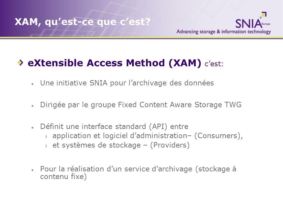 XAM, quest-ce que cest? eXtensible Access Method (XAM) cest: Une initiative SNIA pour larchivage des données Dirigée par le groupe Fixed Content Aware