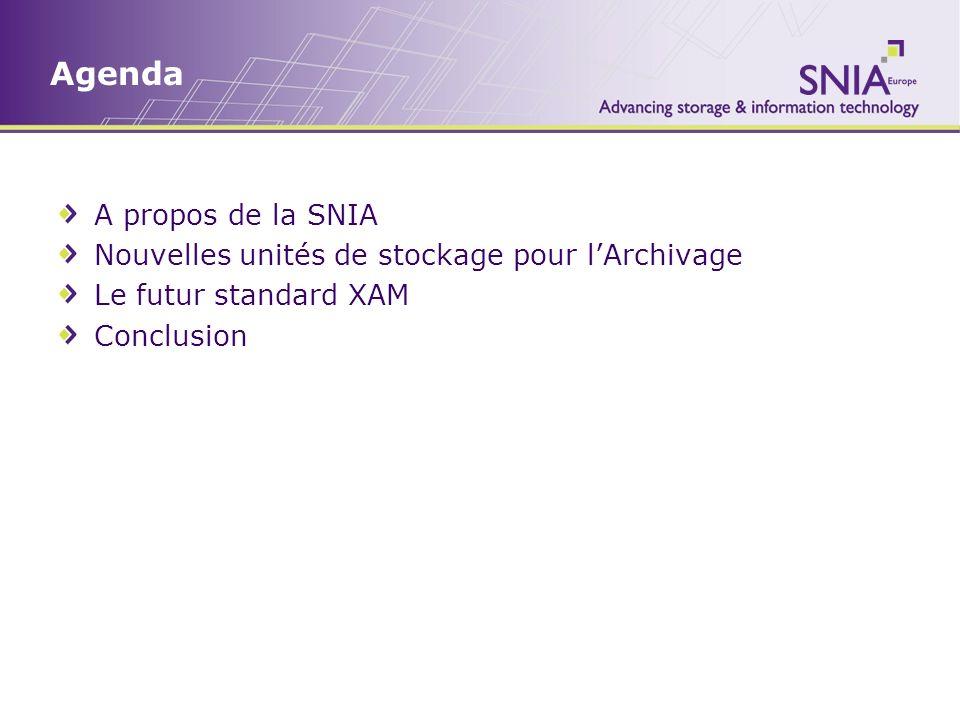 Agenda A propos de la SNIA Nouvelles unités de stockage pour lArchivage Le futur standard XAM Conclusion