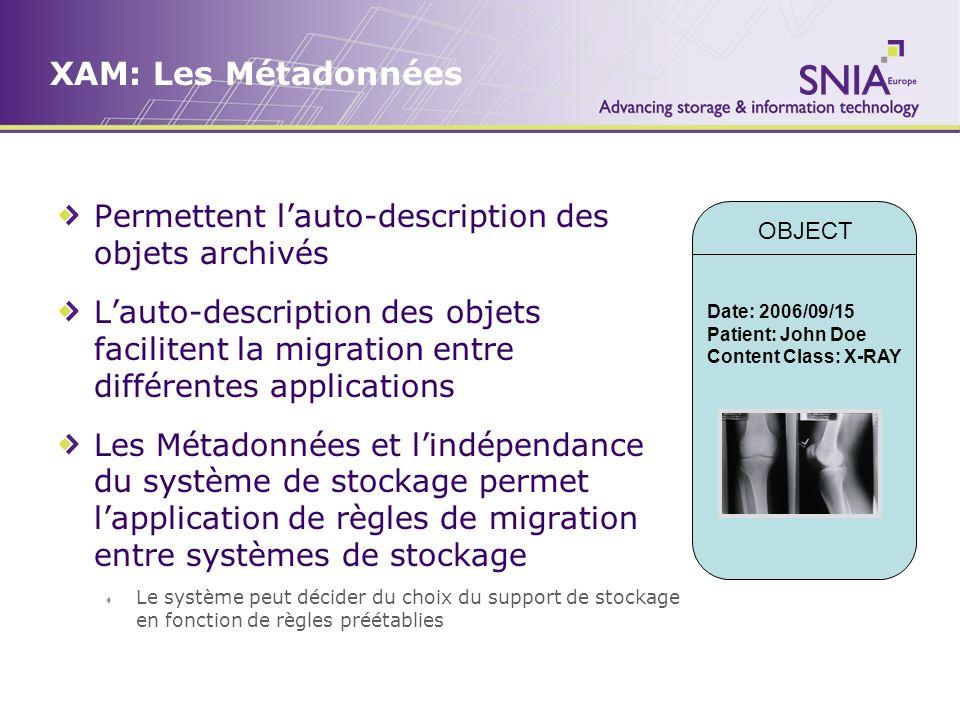 XAM: Les Métadonnées Permettent lauto-description des objets archivés Lauto-description des objets facilitent la migration entre différentes applicati