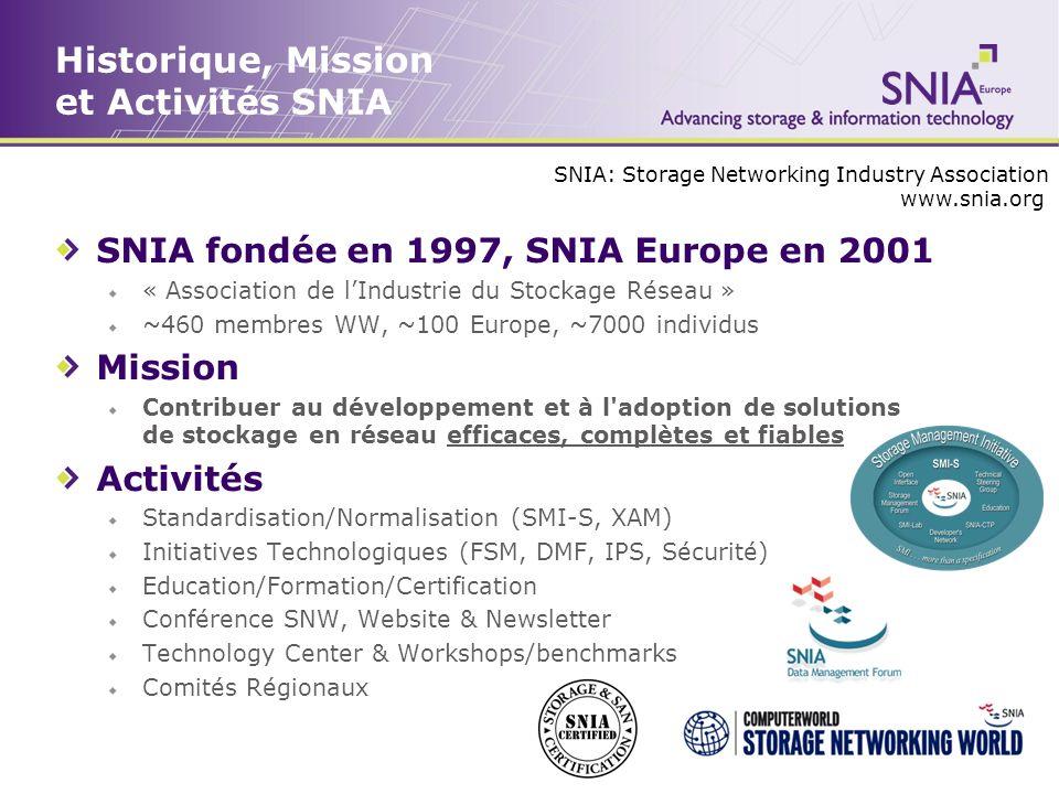 Historique, Mission et Activités SNIA SNIA fondée en 1997, SNIA Europe en 2001 « Association de lIndustrie du Stockage Réseau » ~460 membres WW, ~100