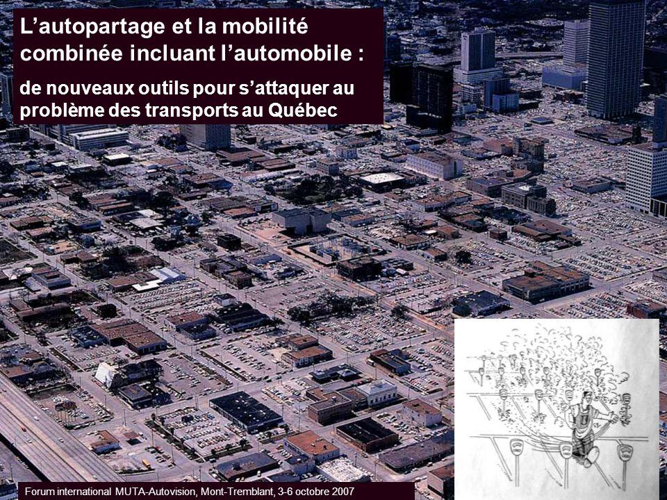Lautopartage et la mobilité combinée incluant lautomobile : de nouveaux outils pour sattaquer au problème des transports au Québec Forum international