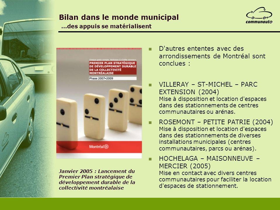 Janvier 2005 : Lancement du Premier Plan stratégique de développement durable de la collectivité montréalaise Bilan dans le monde municipal …des appui