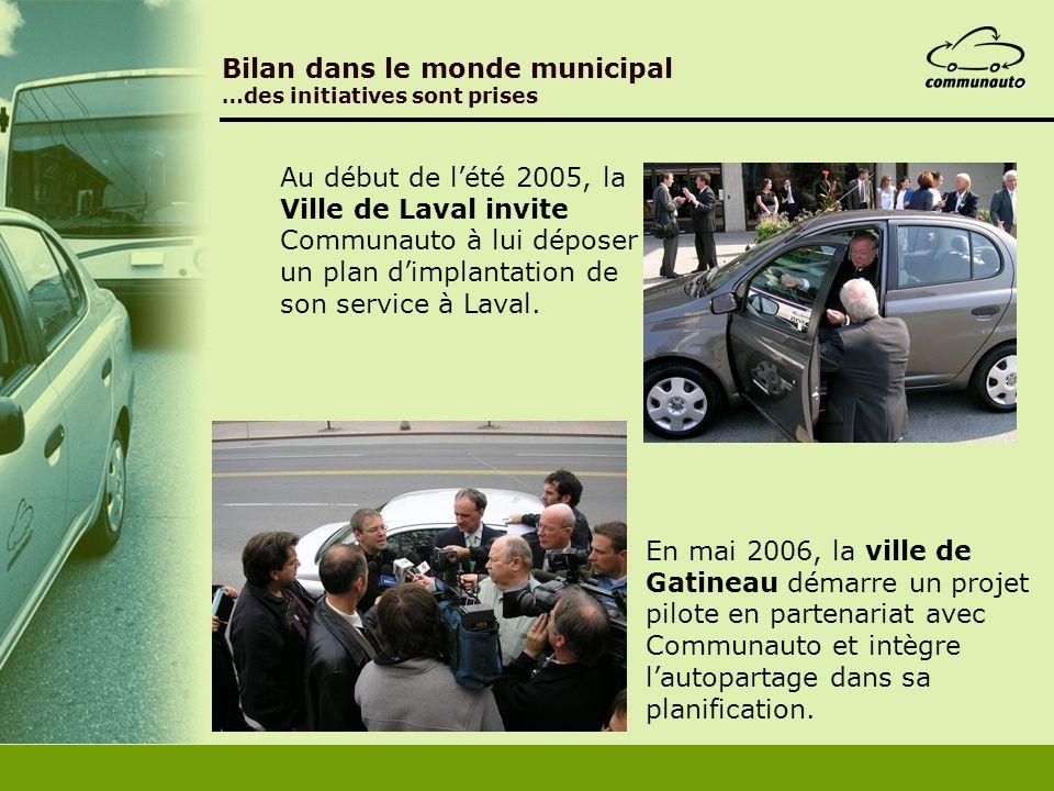 Bilan dans le monde municipal …des initiatives sont prises En mai 2006, la ville de Gatineau démarre un projet pilote en partenariat avec Communauto e