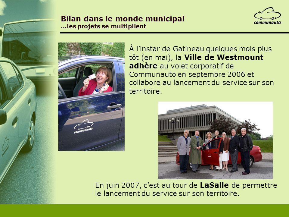 À linstar de Gatineau quelques mois plus tôt (en mai), la Ville de Westmount adhère au volet corporatif de Communauto en septembre 2006 et collabore a