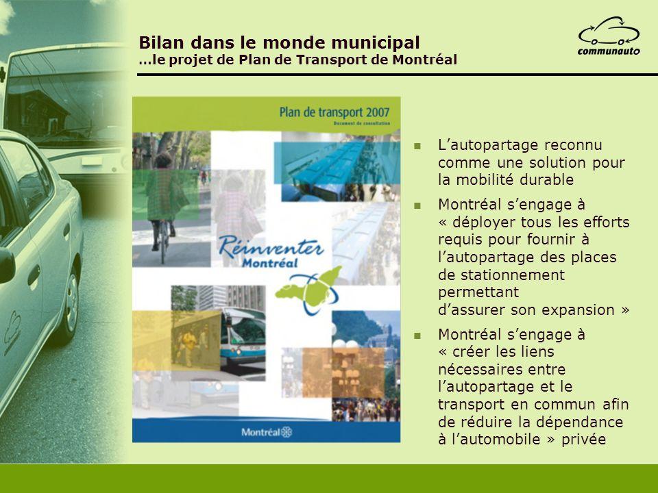 Bilan dans le monde municipal …le projet de Plan de Transport de Montréal Lautopartage reconnu comme une solution pour la mobilité durable Montréal se