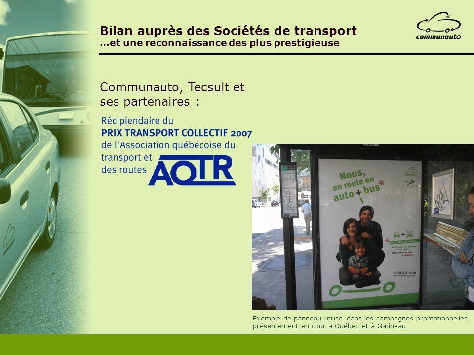 Bilan auprès des Sociétés de transport …et une reconnaissance des plus prestigieuse Communauto, Tecsult et ses partenaires : Exemple de panneau utilis