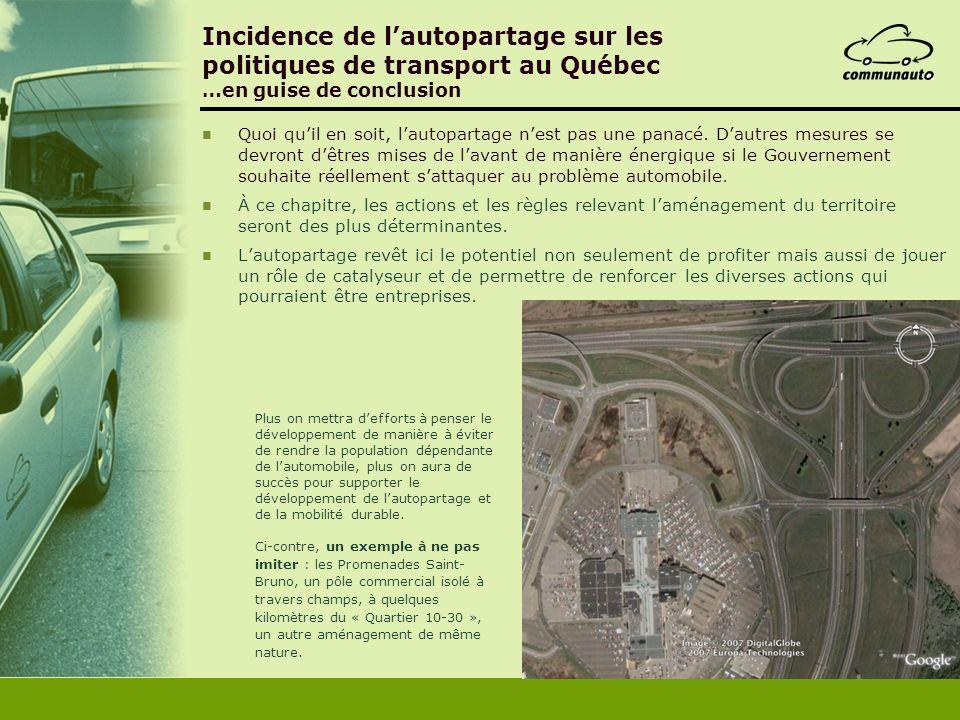 Incidence de lautopartage sur les politiques de transport au Québec …en guise de conclusion Quoi quil en soit, lautopartage nest pas une panacé. Dautr