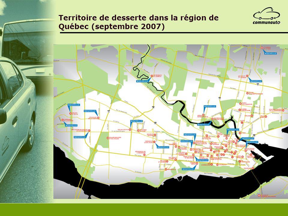 Territoire de desserte dans la région de Québec (septembre 2007)