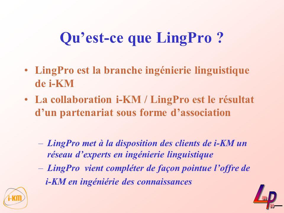 LingPro est la branche ingénierie linguistique de i-KM La collaboration i-KM / LingPro est le résultat dun partenariat sous forme dassociation –LingPr