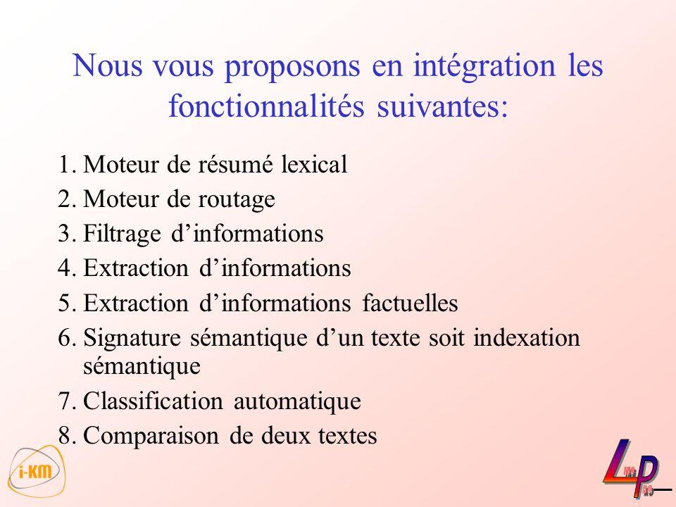 Nous vous proposons en intégration les fonctionnalités suivantes: 1.Moteur de résumé lexical 2.Moteur de routage 3.Filtrage dinformations 4.Extraction