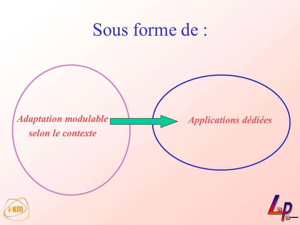 Sous forme de : Adaptation modulable selon le contexte Applications dédiées