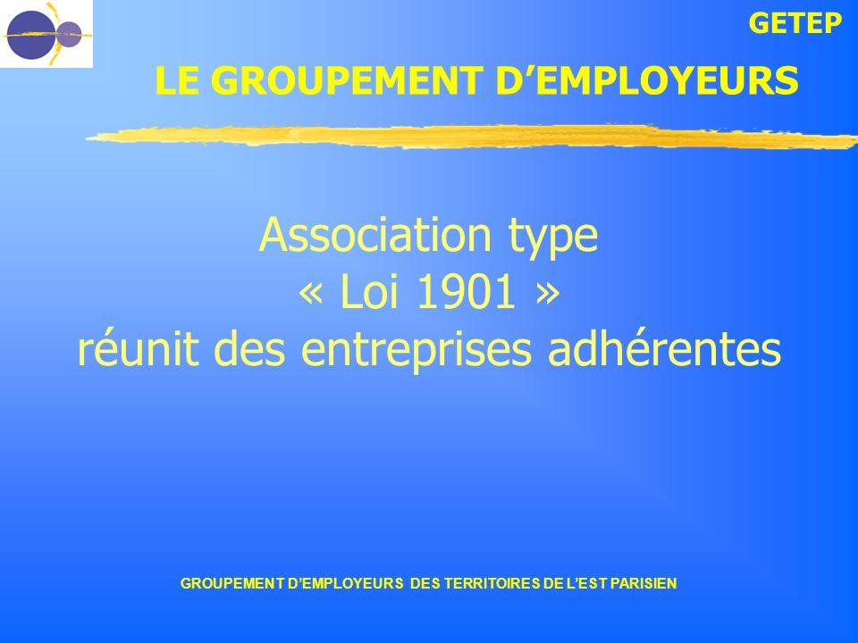 GETEP GROUPEMENT DEMPLOYEURS DES TERRITOIRES DE LEST PARISIEN Association type « Loi 1901 » réunit des entreprises adhérentes LE GROUPEMENT DEMPLOYEUR