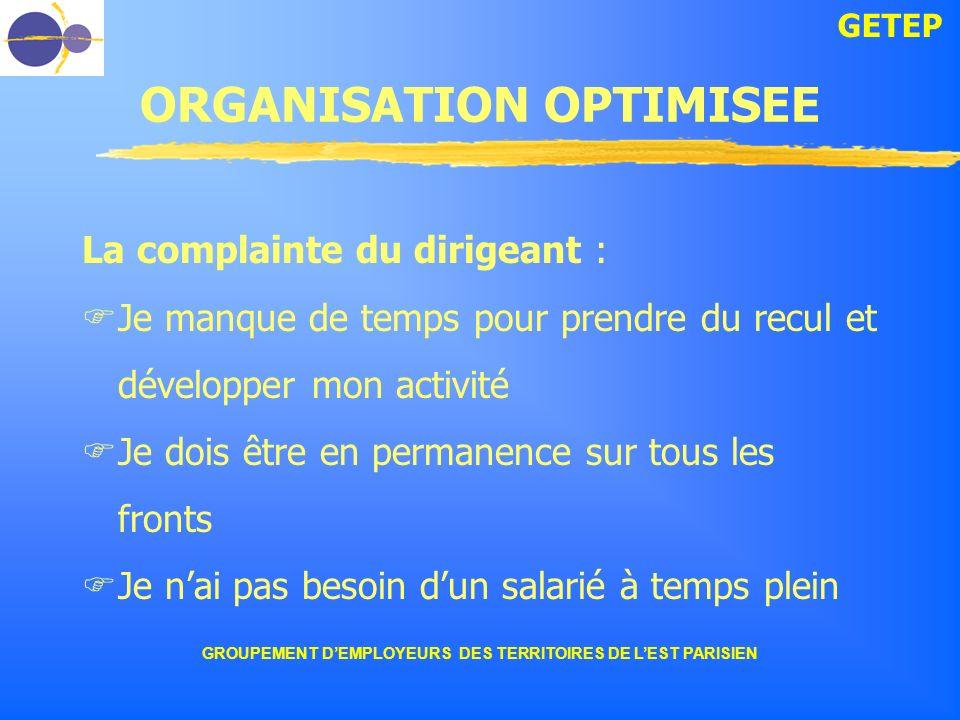 GETEP GROUPEMENT DEMPLOYEURS DES TERRITOIRES DE LEST PARISIEN ORGANISATION OPTIMISEE La complainte du dirigeant : Je manque de temps pour prendre du r