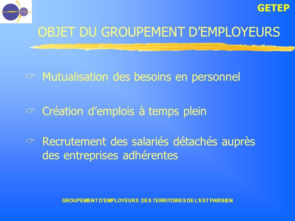 GETEP GROUPEMENT DEMPLOYEURS DES TERRITOIRES DE LEST PARISIEN OBJET DU GROUPEMENT DEMPLOYEURS Mutualisation des besoins en personnel Création demplois