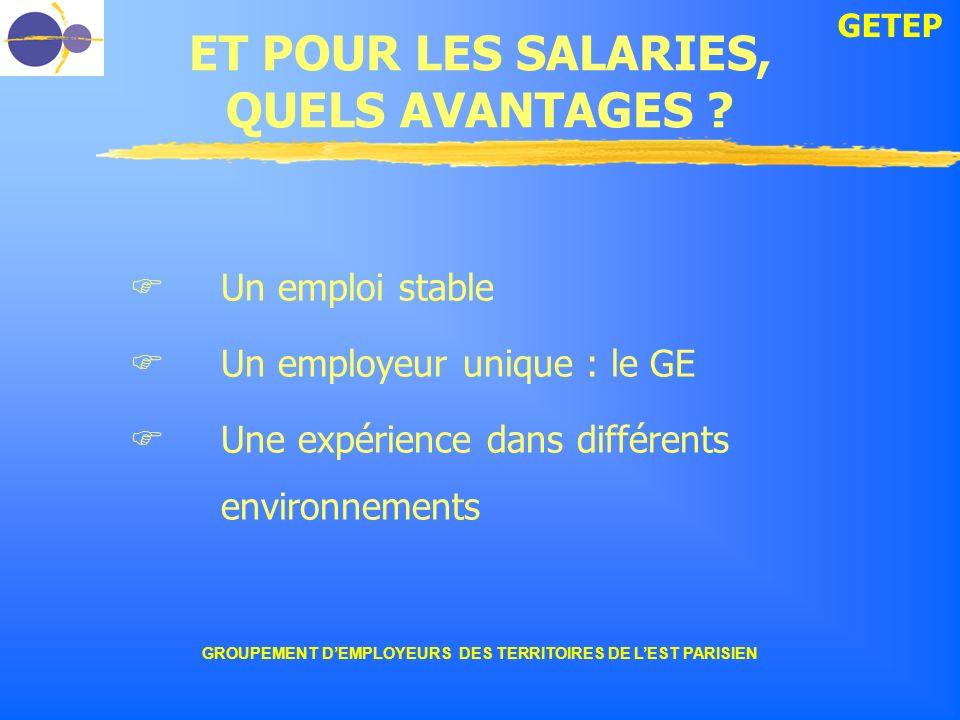 GETEP GROUPEMENT DEMPLOYEURS DES TERRITOIRES DE LEST PARISIEN ET POUR LES SALARIES, QUELS AVANTAGES ? Un emploi stable Un employeur unique : le GE Une