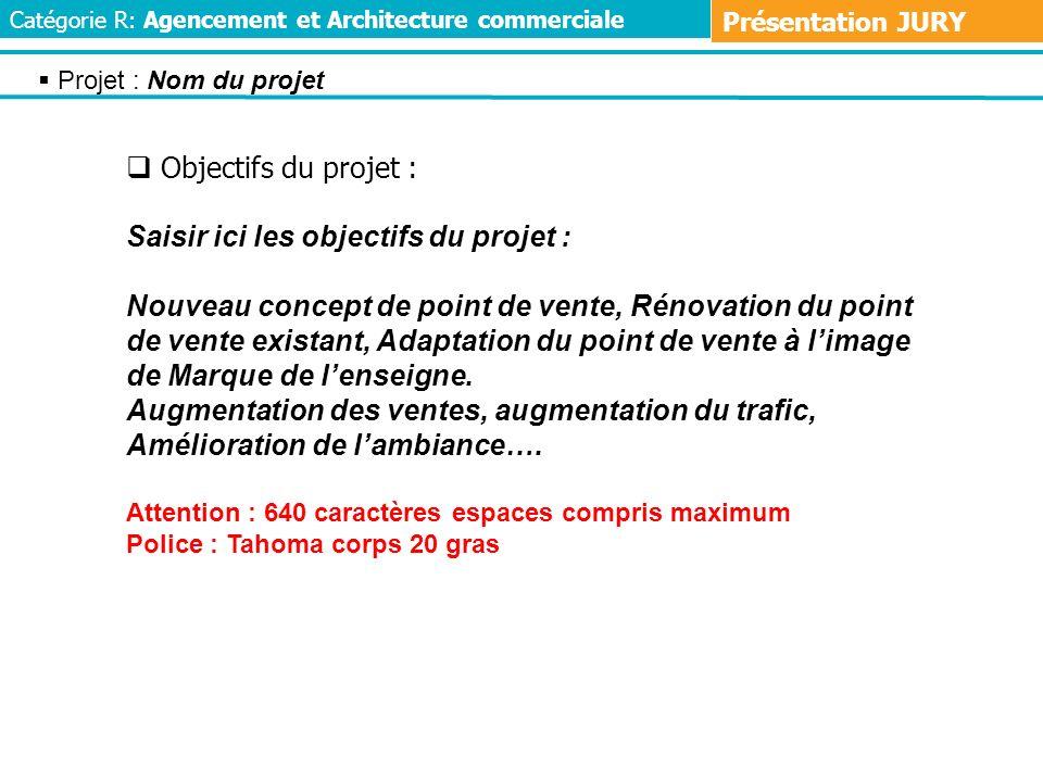Objectifs du projet : Saisir ici les objectifs du projet : Nouveau concept de point de vente, Rénovation du point de vente existant, Adaptation du poi