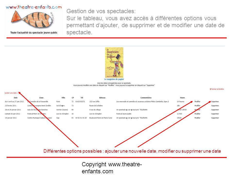 Copyright www.theatre- enfants.com Ajout dune date de spectacle au calendrier : Entrer la date de la 1ère représentation et de la dernière dans un même lieu (obligatoire pour laffichage en page d accueil) Saisissez la date en toute lettre.