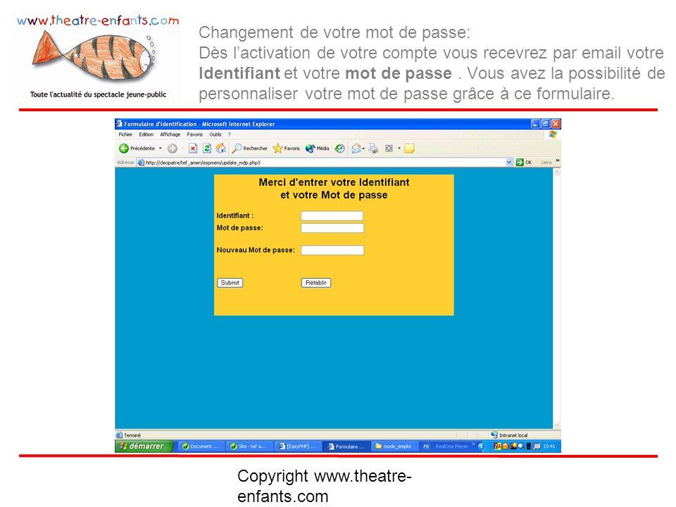 Copyright www.theatre- enfants.com Envoi de votre Mot de passe par email: Dans le cas de la perte de votre mot de passe, il vous suffit dinscrire votre Identifiant afin que lon vous renvoie votre mot de passe.
