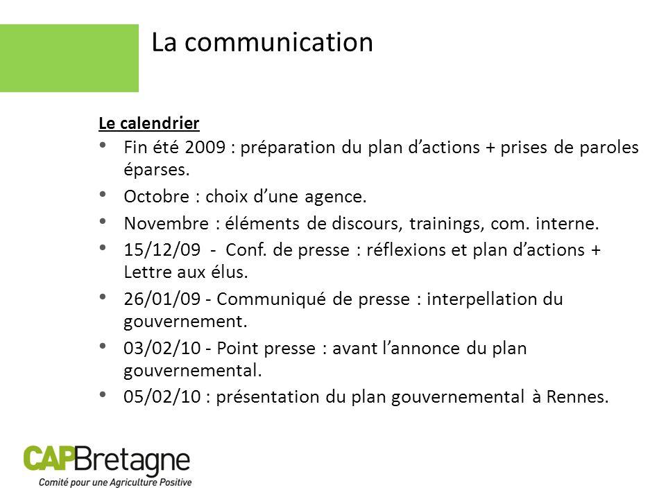 La communication Le calendrier Fin été 2009 : préparation du plan dactions + prises de paroles éparses. Octobre : choix dune agence. Novembre : élémen