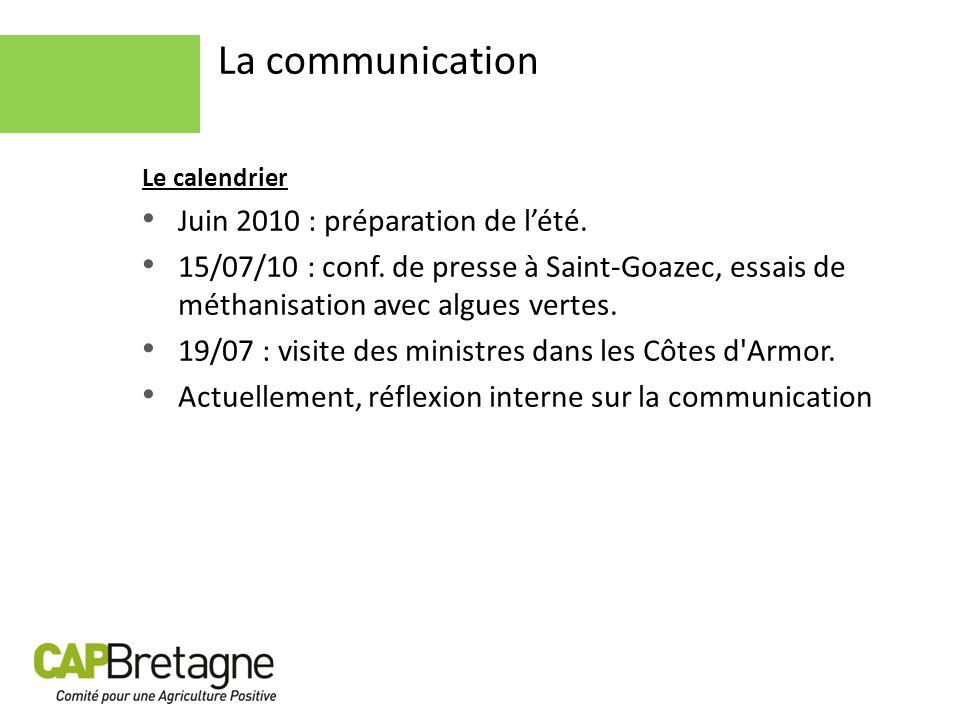 Le calendrier Juin 2010 : préparation de lété. 15/07/10 : conf. de presse à Saint-Goazec, essais de méthanisation avec algues vertes. 19/07 : visite d