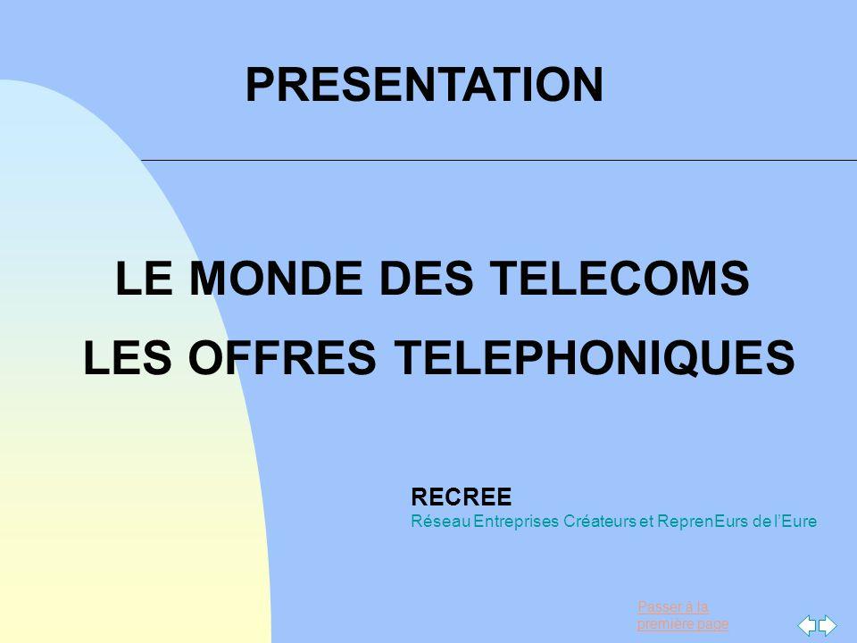 Passer à la première page LE MONDE DES TELECOMS LES OFFRES TELEPHONIQUES RECREE Réseau Entreprises Créateurs et ReprenEurs de lEure PRESENTATION