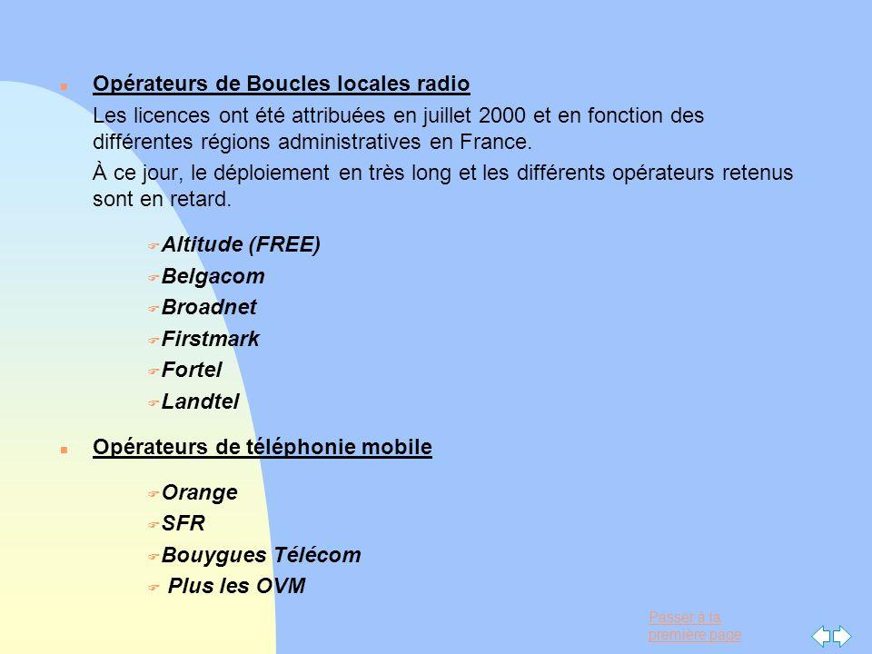 Passer à la première page n Opérateurs de Boucles locales radio Les licences ont été attribuées en juillet 2000 et en fonction des différentes régions
