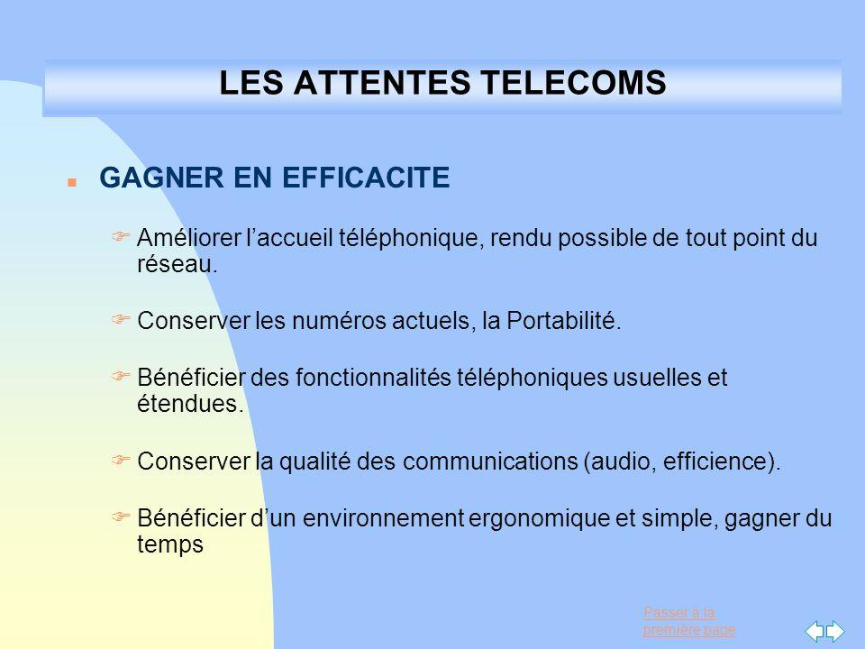 Passer à la première page LES ATTENTES TELECOMS n GAGNER EN EFFICACITE F Améliorer laccueil téléphonique, rendu possible de tout point du réseau. F Co